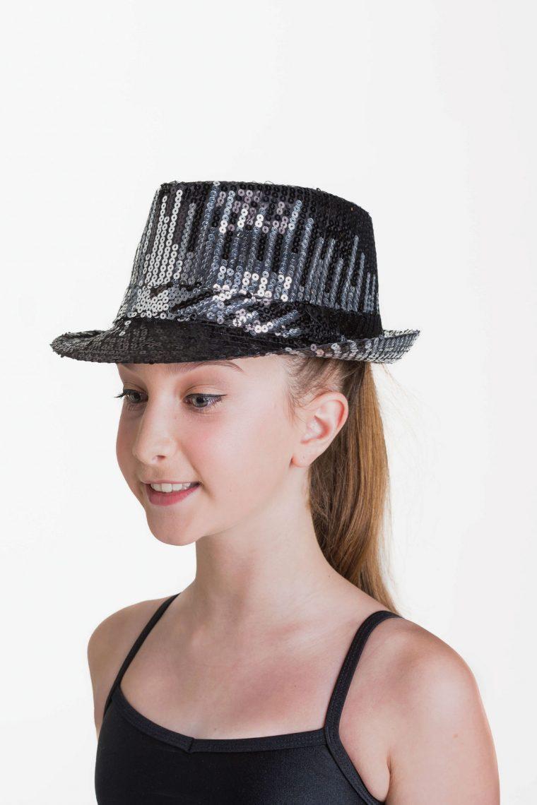 sequin hat metallic silver