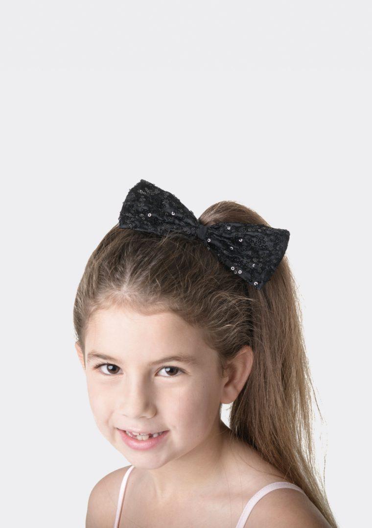 sequin hair bow black