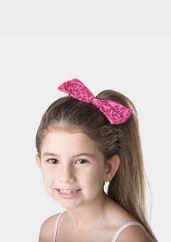 sequin hair bow hot pink