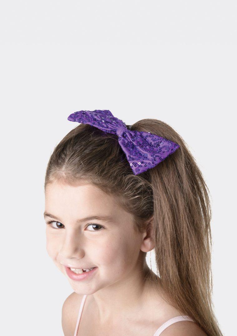 sequin hair bow purple