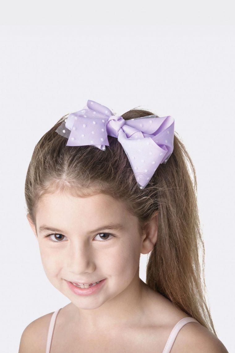 spotty bow clip lilac