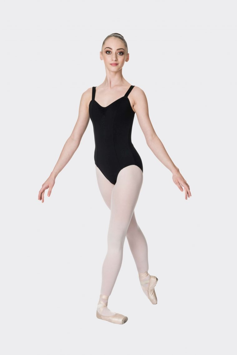 wide strap leotard black