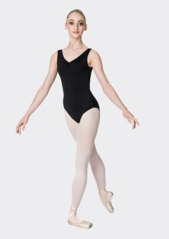 premium thick strap leotard black