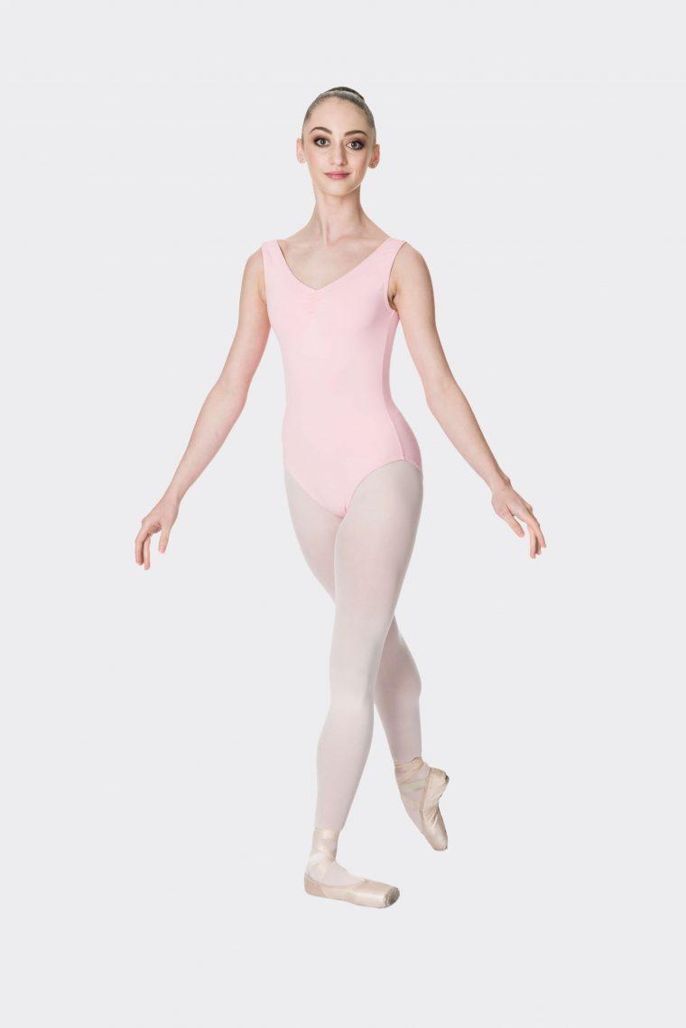 premium thick strap leotard ballet pink