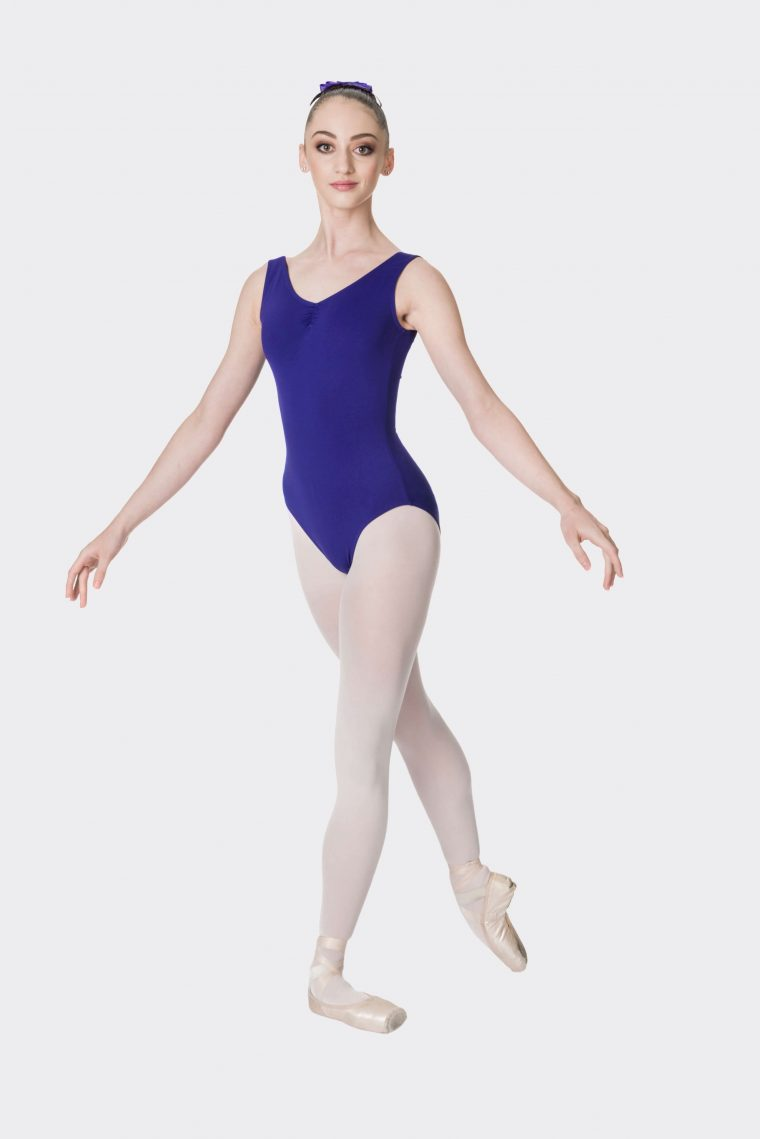 premium thick strap leotard dark purple