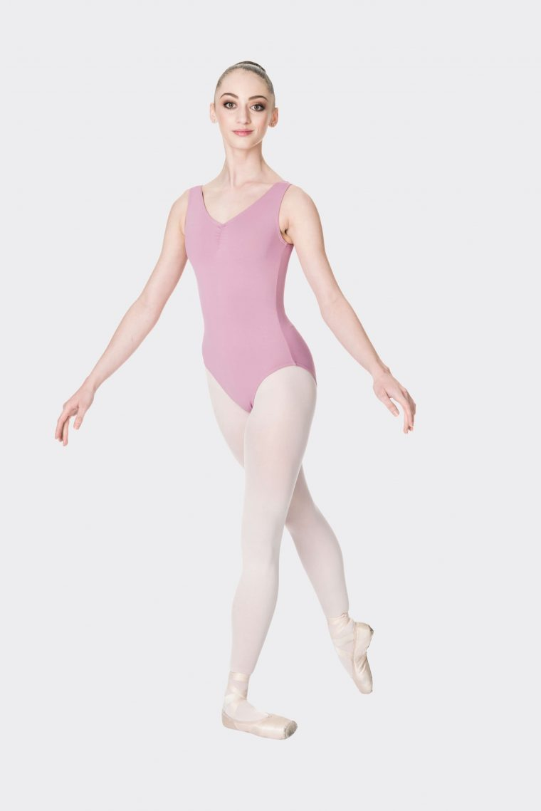 premium thick strap leotard dusty pink