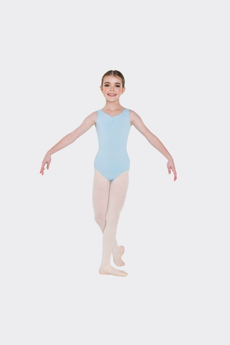 premium thick strap leotard pale blue