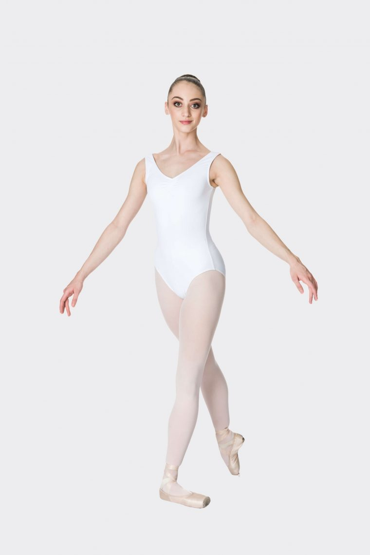 premium thick strap leotard white