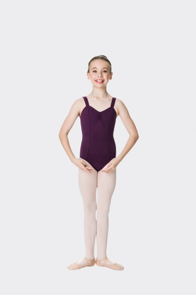 wide strap leotard plum