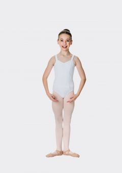 wide strap leotard white