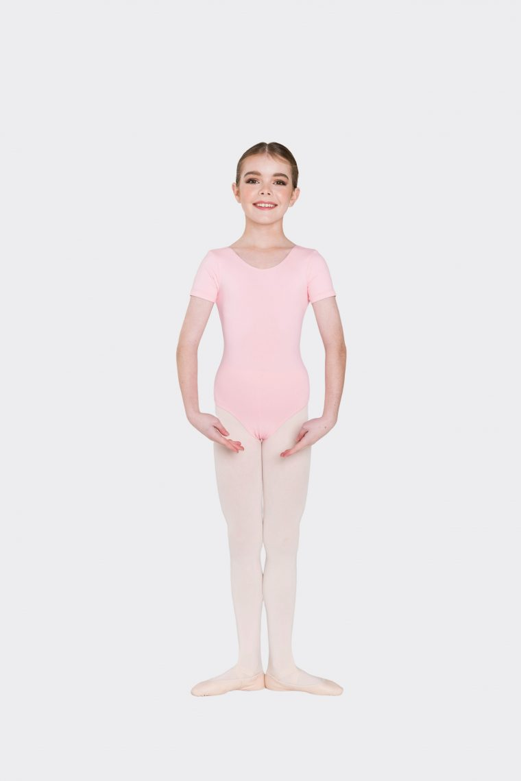 short sleeve leotard ballet pink