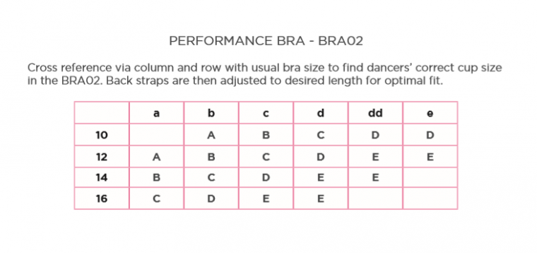 performance dance sizing guide