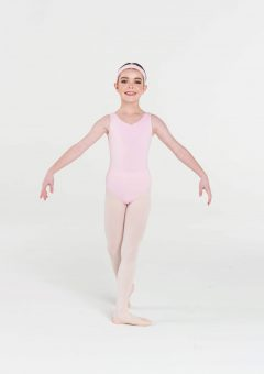 classic thick strap leotard pale pink