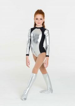 metallic warrior leotard silver