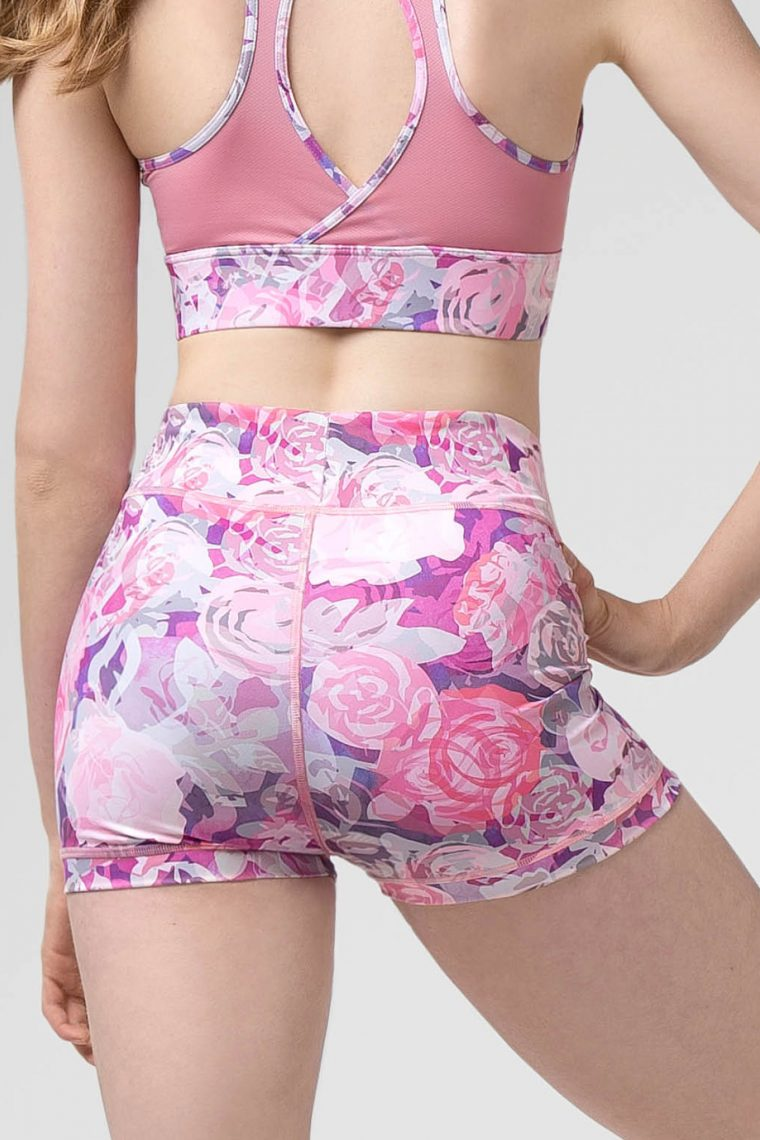 Rosette shorts pink roses
