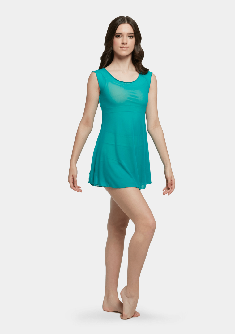 mesh slip dress turquoise