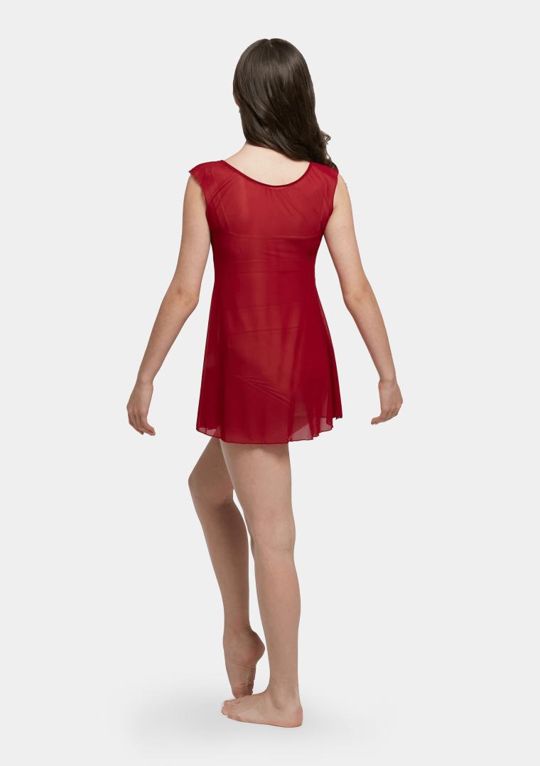 mesh slip dress red