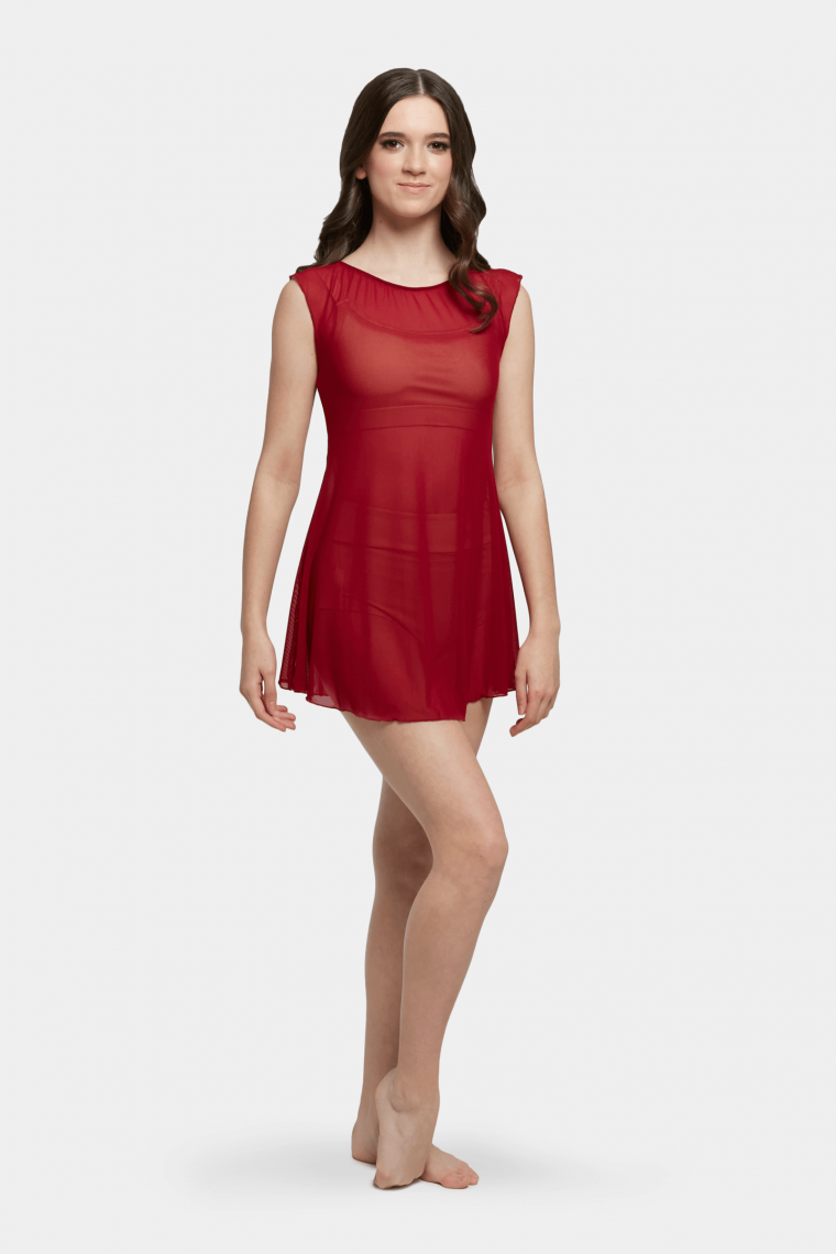 mesh slip dress red