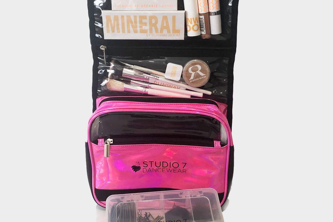 holographic makeup bag pink runway room